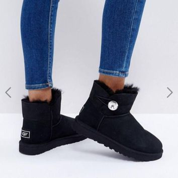 UGG Mini Bailey Button Black Women Fashion Wool Snow Boots I
