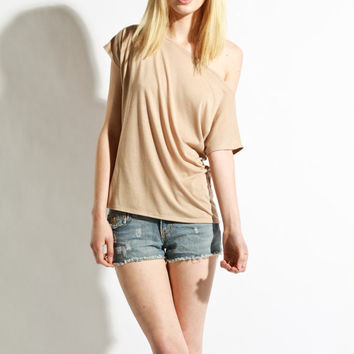 Womens Shirt - Beige Tunic Womens Blouse Jersey Small  Medium Large