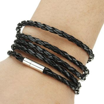 2017 New Women Jewelry Wristband Bracelet Leather Cord Rope Friendship Bracelets 5 Loop Men Punk Charm Bracelet