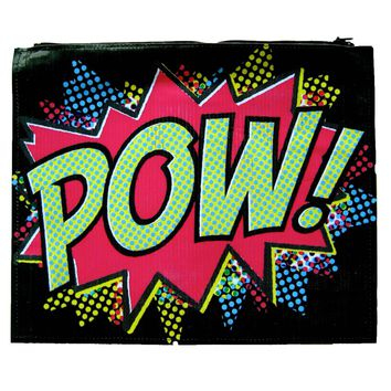 Large Upcycled Vinyl Pop Art POW! Retro Print Clutch Bag | DOTOLY