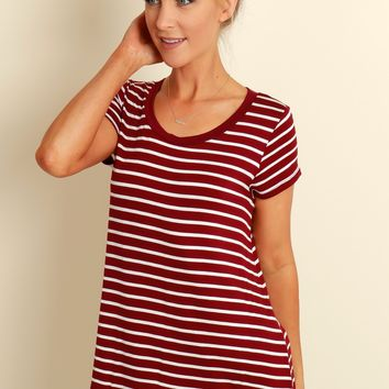 Stripe It Up Top Burgundy