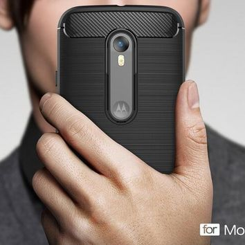 Newest Anti-drop Soft Carbon Fiber Luxury TPU Case For Motorola Moto G3 G 3rd Gen 3 Back Cover For MOTO G3 Coque phone cases