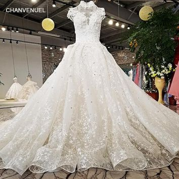 LS65410 2018 new arrival wedding gown from china short sleeves high neck open back star lace organza skirt tulle wedding dress
