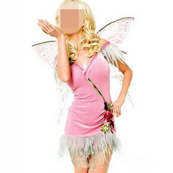 2016 Hot New Fancy Pink Butterfly Fairy Angel Animal Halloween Cosplay Costumes Carnival Outfit For Adult Women Tutu Dress Wings