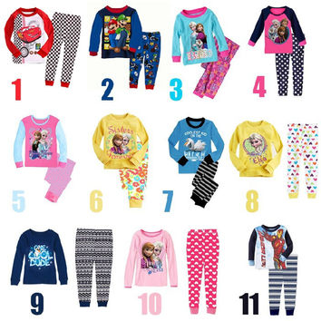 2016  long-sleeve baby girls clothing sets kids boys Children's pajamas child Anna Elsa princess pajamas for 1-5T