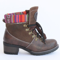 Knit Trim Leather Boots