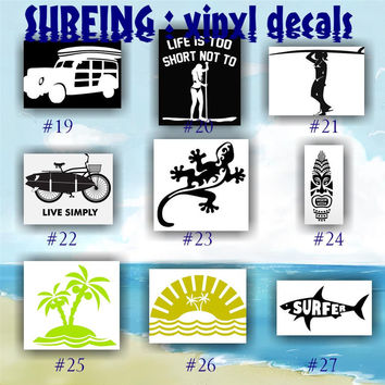 SURFING vinyl decals / 19-27 / SURFER vinyl decal / Surfer GIRL car window stickers