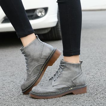 autumn winter boots women designer brogue shoes woman lace up oxford ankle boots genuine leather snow boots with fur big size 43
