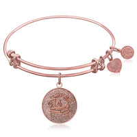 Expandable Bangle in Pink Tone Brass with Lawyer Symbol