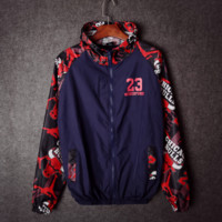 Jordan 23 Printed Unisex Lovers' Long Sleeve Loose  Windbreaker Coat Jacket  In 3 Colors