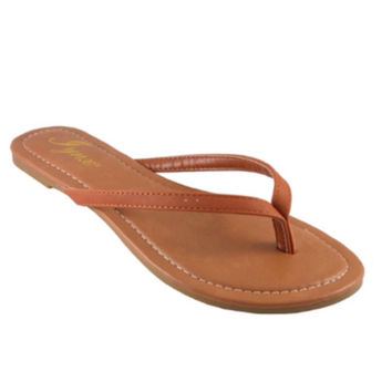 Forever Faithful Classic Strap Tan Flip Flops, Sandals