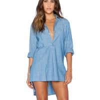 Denim V-neck Shirt Collar Slit Long Sleeve Short Front Tunic Blouse