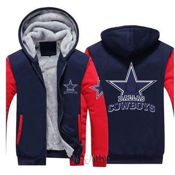 Dropshiping Sportswear Cowboy Dallas Team Zipper Jacket Sweatshirts Letter Printing Pattern Thicken Fleece Hoodie Men Women Coat