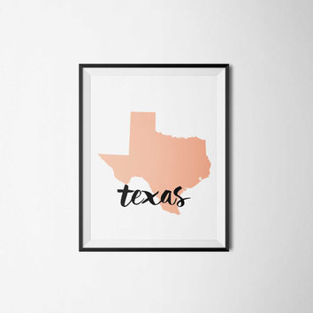 Texas State, Typography Print, Printable, State Print, 8 x 10 instant download, #3