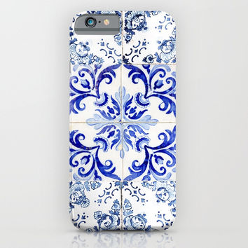 azulejos - Portuguese painted tiles iPhone & iPod Case by Ingrid Beddoes