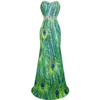 Chiffon Strapless Beading  Rhinestone  Peacock  Printing  Long Evening Dress  Green