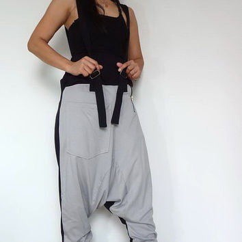 Extra Large Trousers Bib Ninja Pants Suspender , Gaucho Unisex, Ribbed Cotton,Two Tone Pale Grey/Black Colour.