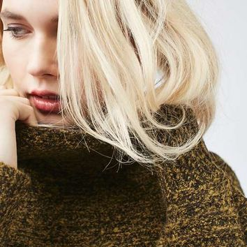 Textured Oversized Cocoon Funnel Neck Jumper - New In