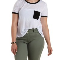 Plus Size White Combo Ringer Pocket Tee by Charlotte Russe