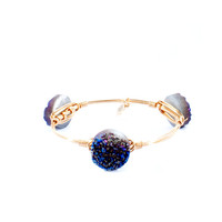 Bourbon and Bowties Purple Round Druzy Bangle