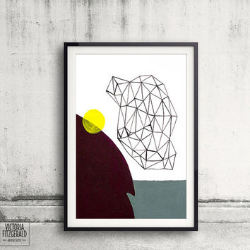 Geometric Art, Burgundy/Aubergine and Green Grey Minimalist Art, Home Decor, Wall Art