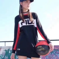 FILA Lady round collar with a loose long sleeve sweater