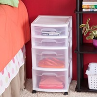 Sterilite 28228002 Home 4 Drawer Wide Storage Cart Portable Container w/Casters