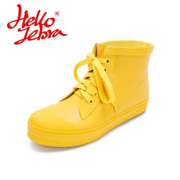 Hellozebra Women Rain Boots Lady Ankle Boots Waterproof boots Low Heels Waterproof Martin Boots Shoes 2017 New Fashion Design