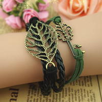 Leaf Bracelet, Key Bracelet, Antique Brass Bracelet, Black Wax Cord Bracelet--Best Chosen Gift