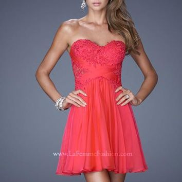 2014 La Femme Applique Top Homecoming Dress 20632