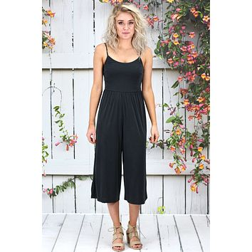 Leisure Modal Midi Culotte Jumpsuit {Black}