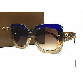 GUCCI Stylish Ladies Men Casual Summer Sun Shades Eyeglasses Glasses Sunglasses Blue Gold I