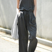 Deep Gray Drawstring Cut-Out Jumpsuit