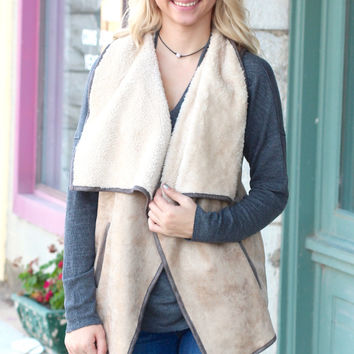 Sheen Suede Fur Lined Vest {Taupe+Charcoal}