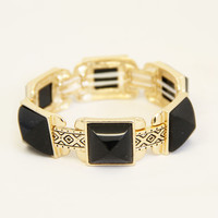 Obsidian Block Stretch Bracelet