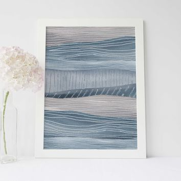 Abstract Pink and Blue Ocean Currents Wall Art Print or Canvas