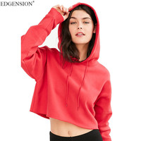 Edgension New 2017 Spring Sporty Short Crop Hoodies Sweatshirt Woman European Fashion Cropped Hooded Tracksuits Moletom Feminino