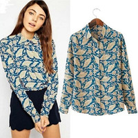 Stylish Women's Fashion Vintage Print Long Sleeve Chiffon Shirt Blouse [6049277697]