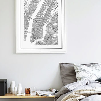 New York Map Print, Manhattan, NYC Map, Manhattan Map Poster, NYC, NY Map, United States Map Print, New York City Black and White Map