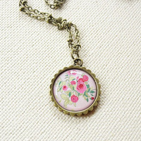 Pink Rose Floral Necklace - Floral Jewelry - Pink Rose Pendant Necklace - Pink Roses Green Leaves