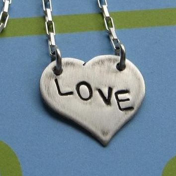custom text on sterling silver heart necklace by VisionQuest