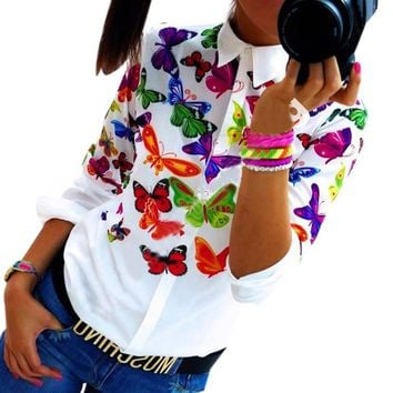 2017 Fashion Women Blouses Chiffon Butterfly Printed Long Sleeve Tops Shirts Casual Blouse Female Blusas