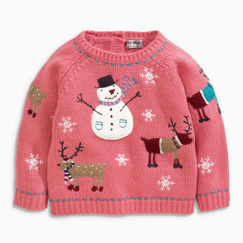KIDS CHRISTMAS GIFT Baby gift Toddler gift Red Xmas Snowman Sweater Pink Xmas Pink Snowman Jumper (3mths-6yrs)