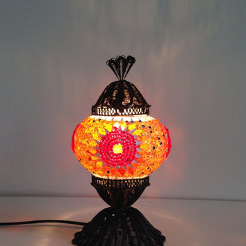 Orange Turkish Mosaic lamp with hand crafted copper base, Small Bedside night lamp, Authentic lamps, Stand lamp, Exotic Lights, Orange Decor