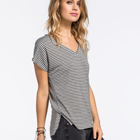 Full Tilt Boyfriend Stripe Womens V-Neck Tee Grey/Black  In Sizes