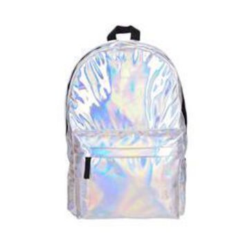 Student Backpack Children Leather quality laptop backpack women Hologram Backpack For School Student Women's Laser Silver Color Holographic Bag backpacks AT_49_3