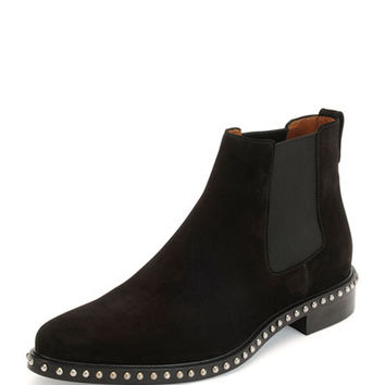 Givenchy Studded Suede Chelsea Boot, Black