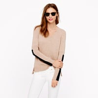 Leather panel V-neck sweater - Pullover - Women's sweaters - J.Crew