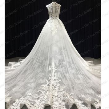 High Neck Lace Satin Wedding Dress Unique Design Bridal Gown