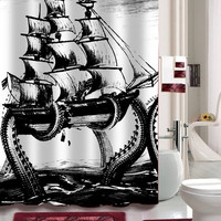 giant octopus attack shower curtain Decorative Shower Curtain size 36x72,48x72,60x72,66x72